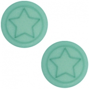 Polaris cabochon ster plat matt 12mm Aqua blue foam
