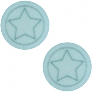 Polaris cabochon ster plat matt 12mm Haze blue