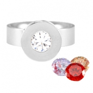 Diamond changeable ring stainless steel Zilver