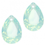 Hanger in druppelvorm  10x14mm Light green turquoise opal