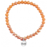 Facet armbanden top quality 6x4mm Dark coral peach - half diamond gold coating