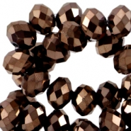 Facet kralen top quality disc 6x4mm Copper brown metallic