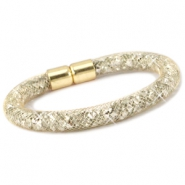 Kristal facet armband Goud - silver crystal