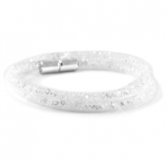Kristal facet armband dubbel White - crystal