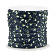 Trendy koord 6x4mm gestikt Dark blue