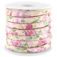 Trendy koord 6x4mm gestikt Beige - rose