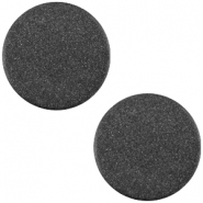 Cabochon polaris soft tone plat 12mm matt Black