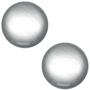 Cabochon polaris soft tone 12mm shiny Silver grey