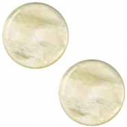 12 mm platte Parelmoer Polaris Elements cabochon Tea green