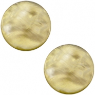 12 mm platte Parelmoer Polaris Elements cabochon Light olive green