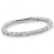Kristal facet armband single Zilver - silver crystal