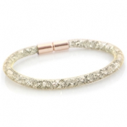 Kristal facet armband single Goud - silver crystal