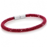 Kristal facet armband single Velvet red - siam