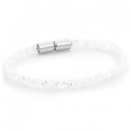 Kristal facet armband single White - crystal