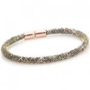 Kristal facet armband single Antiek goud - crystal silver shade