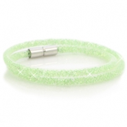 Kristal facet armband dubbel White - crysolite green crystal