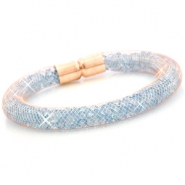 Kristal facet armband Rose gold - aqua blue