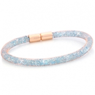 Kristal facet armband single Rose gold - light sapphire