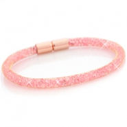 Kristal facet armband single Goud - light pink