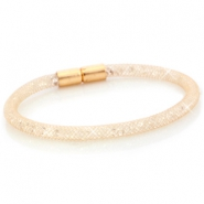 Kristal facet armband single Champagne goud - crystal