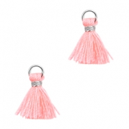 Ibiza style mini kwastje Zilver-Neon coral pink