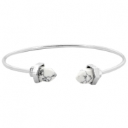 Metalen armband Stone look Zilver-white