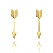 Stainless steel stud oorknopje arrow Goud