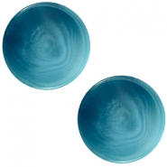 12 mm platte Polaris Elements cabochon Jaquard Light denim blue