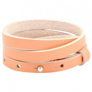 Cuoio leer armband triple 8 mm voor 12 mm cabochon  Peach echo orange