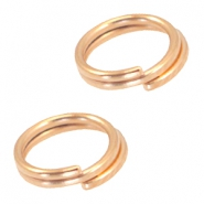 DQ metalen splitring/double ring 7mm Ø5.7mm Rosé goud (nikkelvrij)