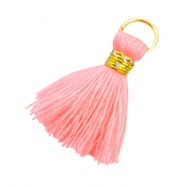 Ibiza style kwastje 2cm Goud-Neon coral pink