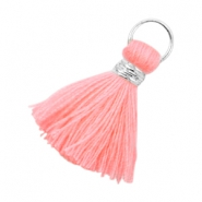Ibiza style kwastje 2cm Zilver-Neon coral pink