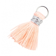 Ibiza style kwastje 2cm Zilver-Light peach orange