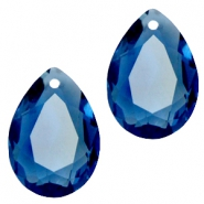 Hangers in druppelvorm SQ facet 10x14mm Montana blue