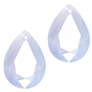 Hangers in druppelvorm SQ facet 10x14mm Light blue opal