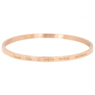"Armband van stainless steel met quote ""LOVE LIFE & ENJOY EVERY MOMENT"" large Rosegold"