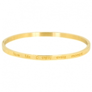 "Armband van stainless steel met quote ""LOVE LIFE & ENJOY EVERY MOMENT"" large Goud"