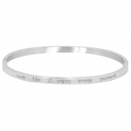 "Armband van stainless steel met quote ""LOVE LIFE & ENJOY EVERY MOMENT"" large Zilver"