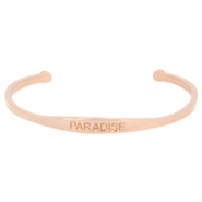 "Armband van stainless steel met quote ""PARADISE"" Rosegold"