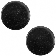 12 mm platte Super Polaris cabochon Nero zwart
