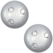 12 mm classic Super Polaris cabochon 3 Swarovski steentjes Ice grey