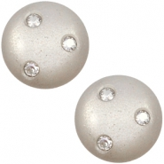12 mm classic Super Polaris cabochon 3 Swarovski steentjes Silver shade