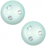 12 mm classic Super Polaris cabochon 3 Swarovski steentjes Light aqua green