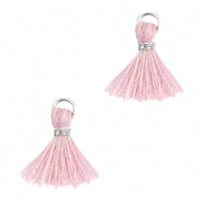 Ibiza style mini kwastje Zilver-Antique pink