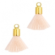 Ibiza style mini kwastje met eindkap Goud-Light peach orange