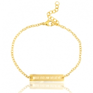 "Armbandje van stainless steel met quote ""WISH DREAM BELIEVE"" Goud"