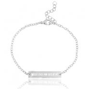 "Armbandje van stainless steel met quote ""WISH DREAM BELIEVE"" Zilver"
