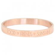 Armband van stainless steel met quote food♡friends♡sunshine Rosegold