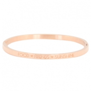 "Armband van stainless steel thin met quote ""food♡friends♡sunshine"" Rosegold"