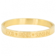 "Armband van stainless steel met quote ""food♡friends♡sunshine Goud"